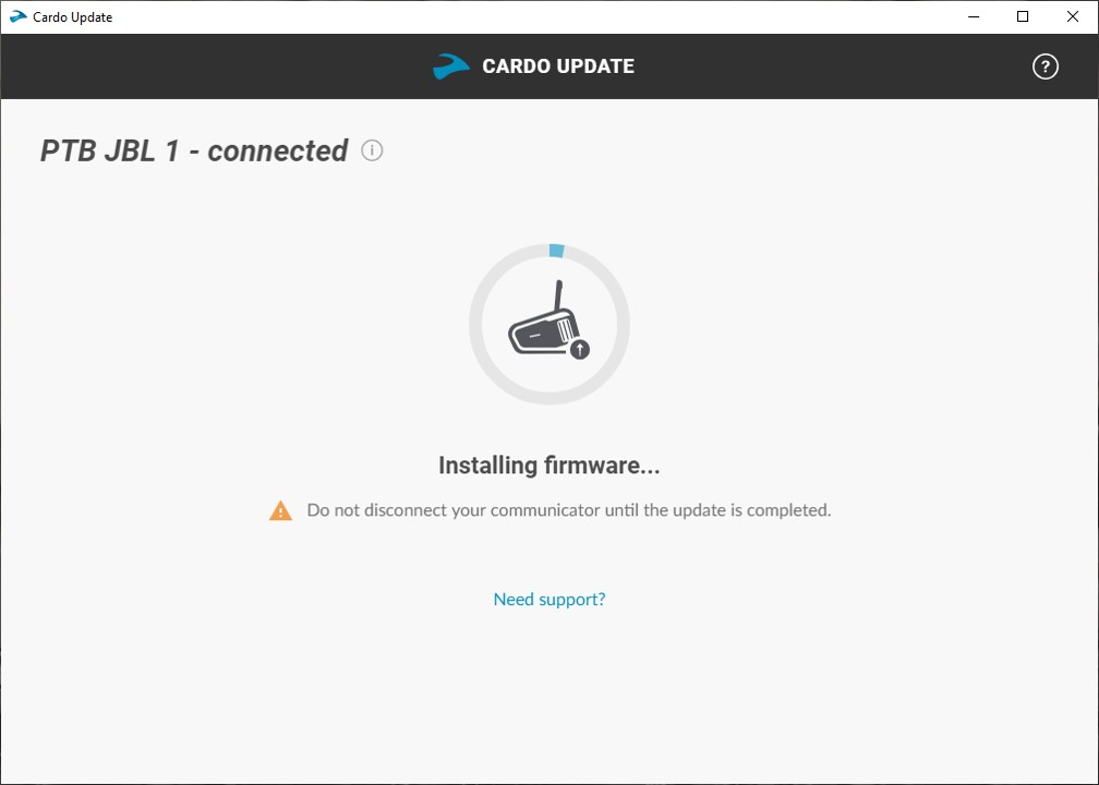 Cardo Update Tool, Pix 3 of 4, update in progress