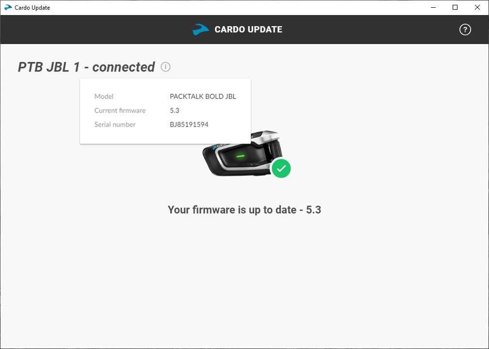 Cardo Update Tool, Pix 4 of 4, update complete