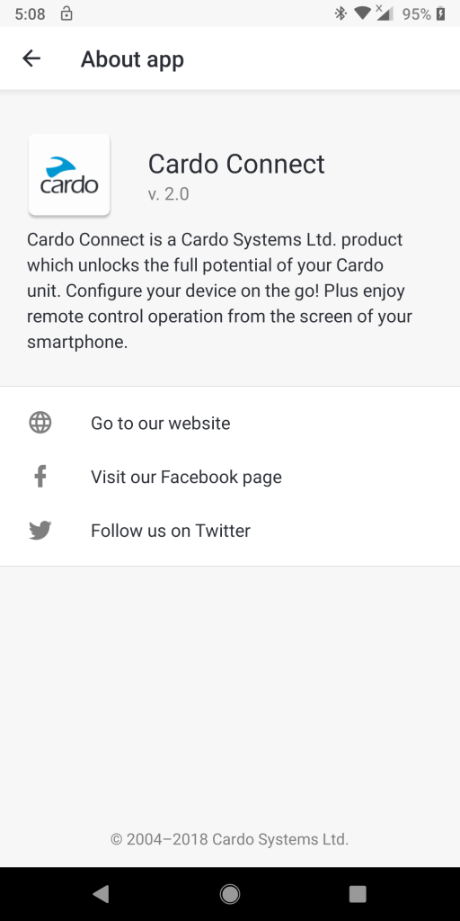 PT BOLD, Cardo Connect App, about screen