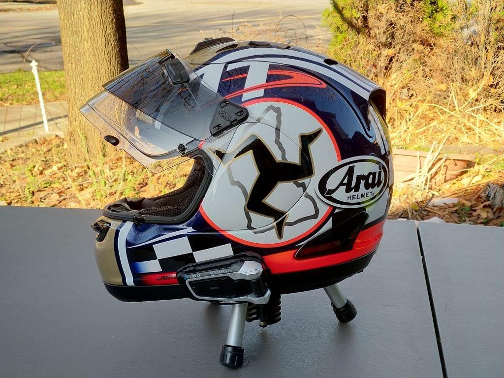 Cardo Scala Rider PACKTALK BOLD installed on Arai Corsair