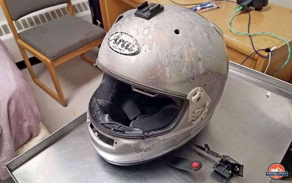My friend Nathan Steuber's helmet that he crashed in last year.