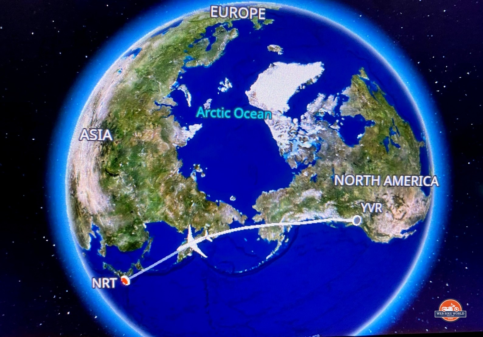 The flight map from Vancouver to Tokyo.