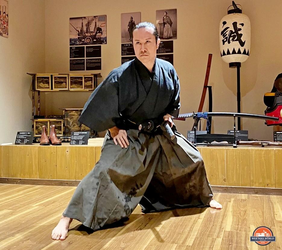 A martial artist performs kata at the Samurai Museum in Shinjuku, Japan.