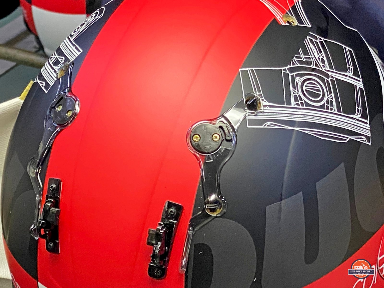 Small screws used to secure diffusers to Arai helmets.