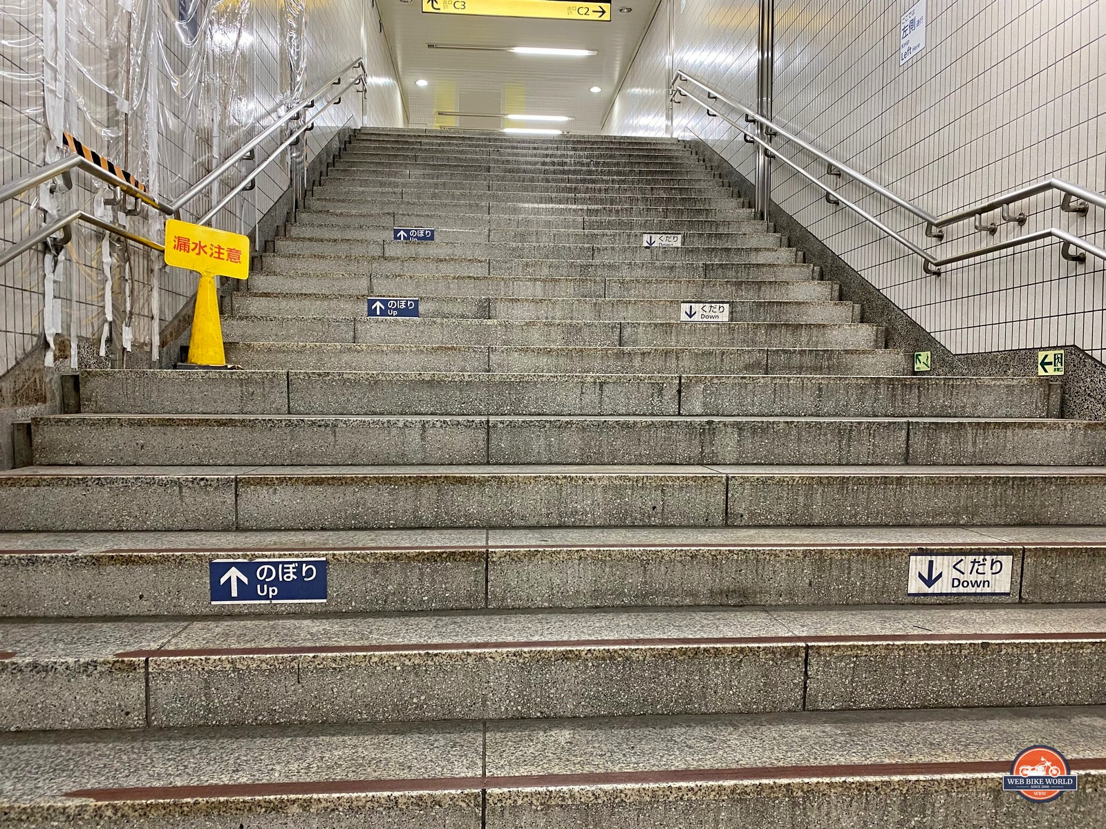 Sidewalks and stairwells are marked to guide you going up or down aiding in efficiency.