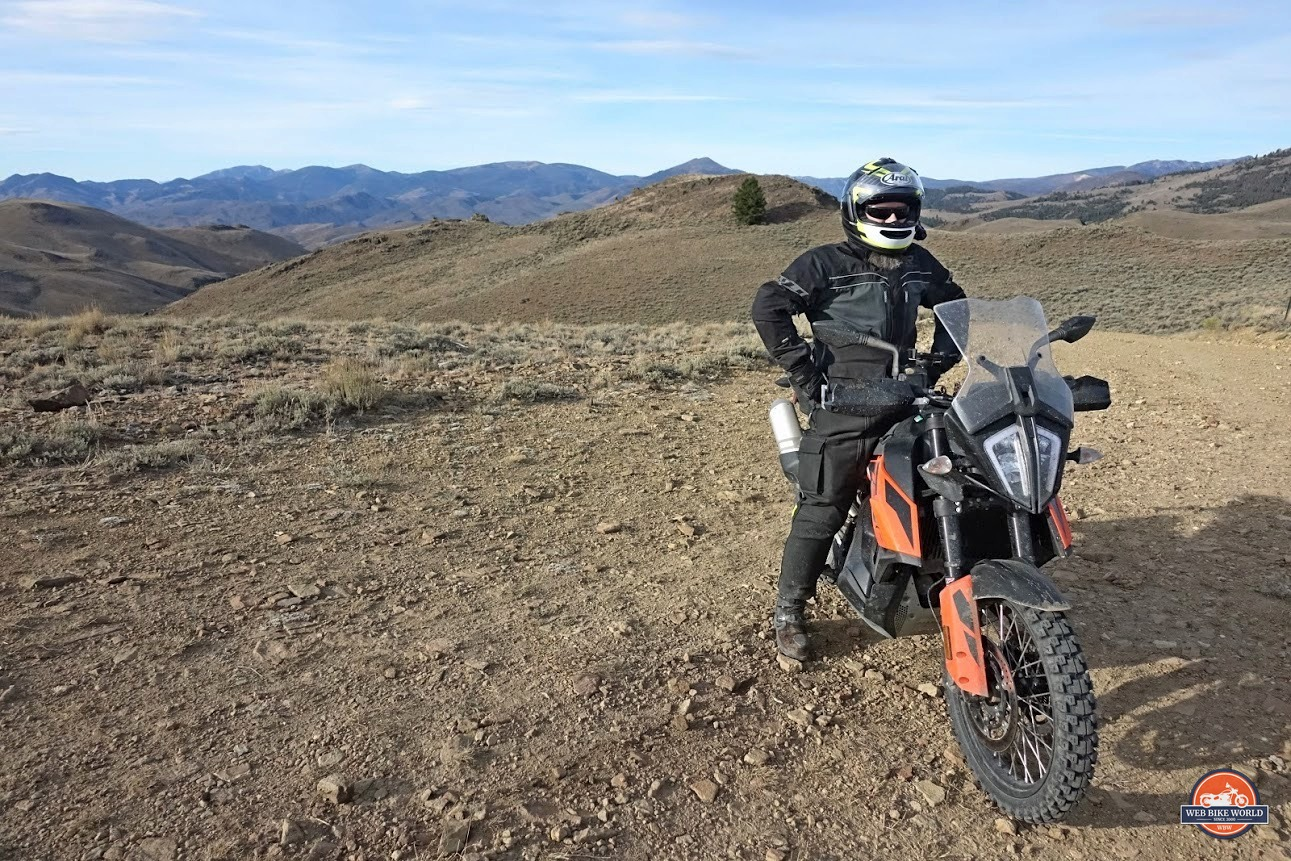 Me on my KTM 790 adventure out in the backcountry near Challis, Idaho.
