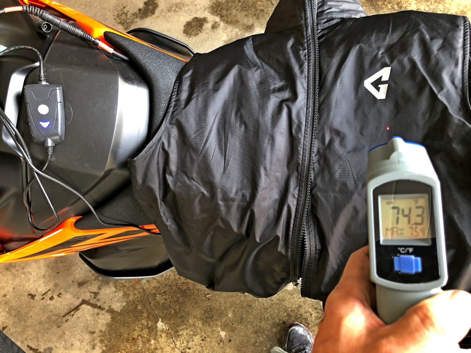 Gerbing Vest heated at 74.3 degrees F