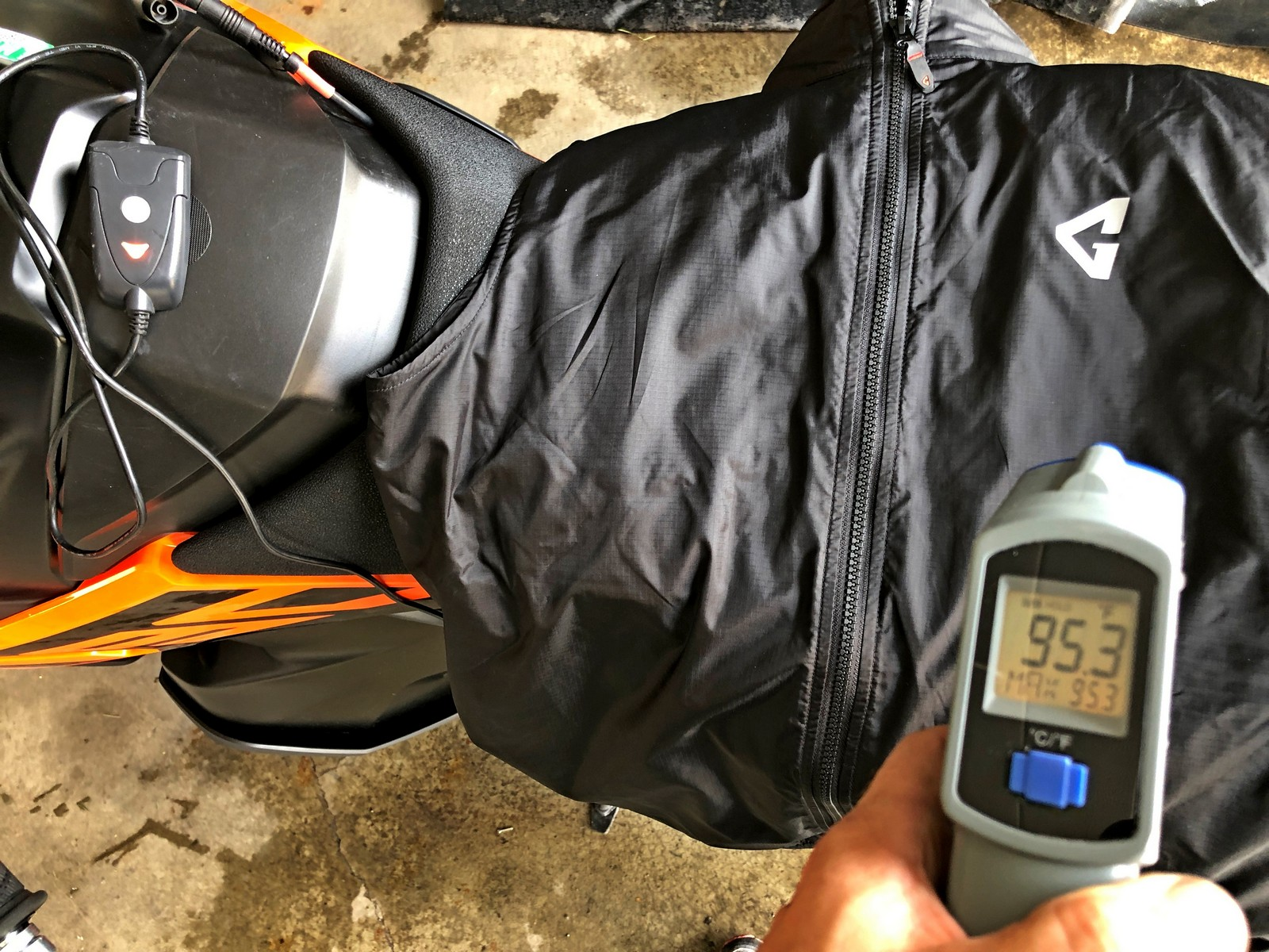 Gerbing Vest heated to 95.3 degrees F