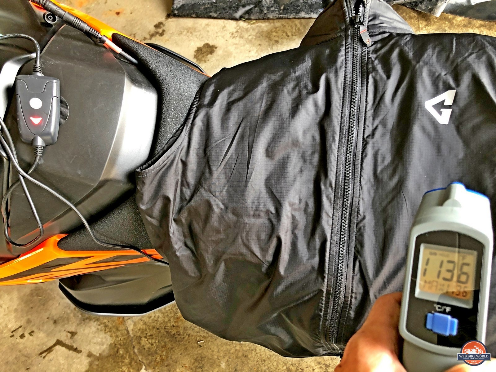 Gerbing Vest heated to 113.6 degrees F