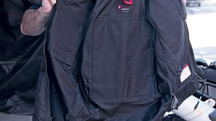 The inside liner of the Gerbing Heated Vest.