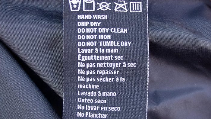 Washing instructions for the Gerbing heated vest.