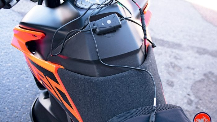 The temperature controller mounted using velcro to the fuel tank on my KTM 790 Adventure.