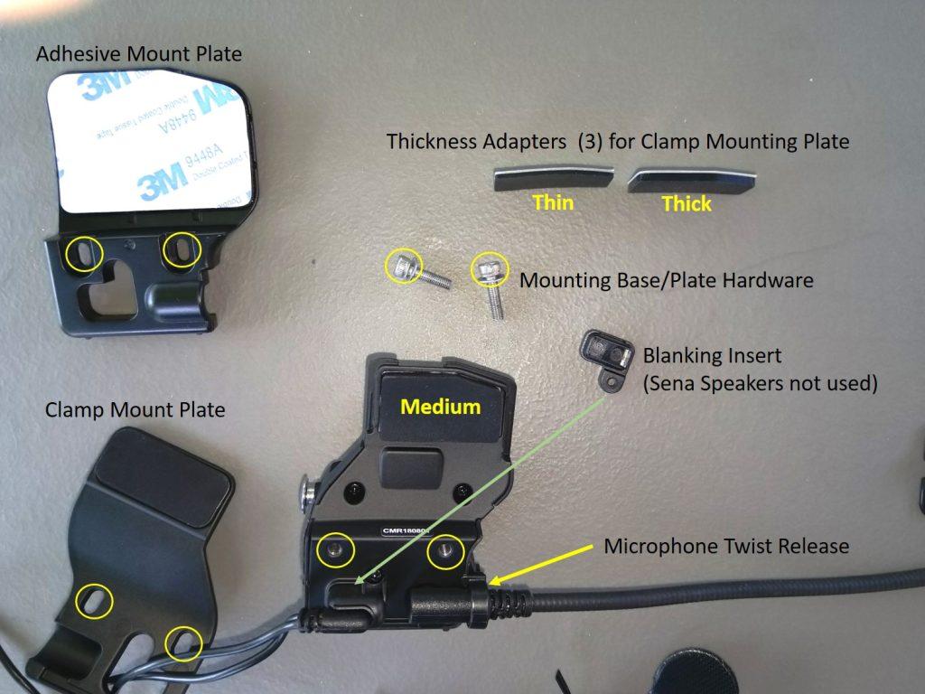 Sena 30K Base and Headset Components