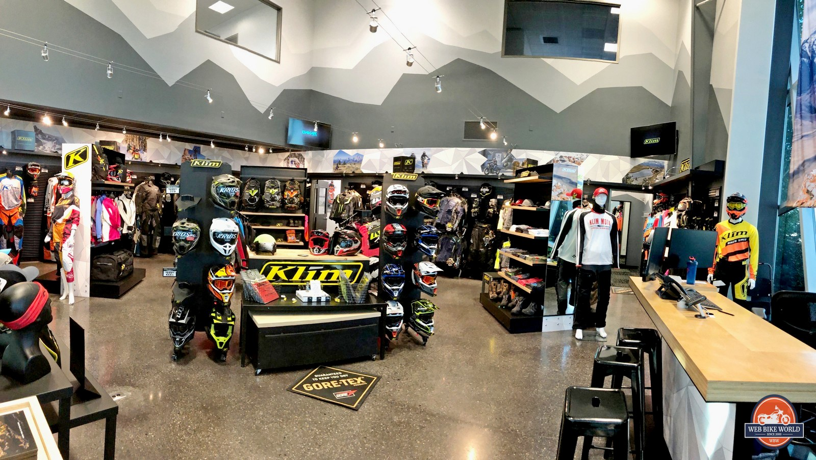 The showroom at Klim HQ.