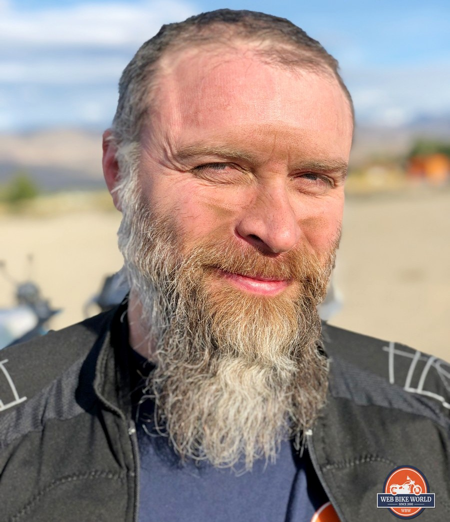 My dirty face after riding in the Klim Cow Tags XL Rally 2019.