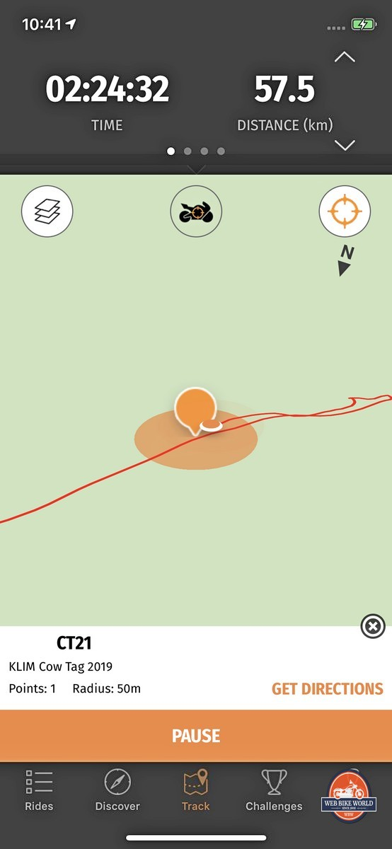 The Rever App showing a point of interest reached out on the trail earning us an entry into a draw for a CRF450L.