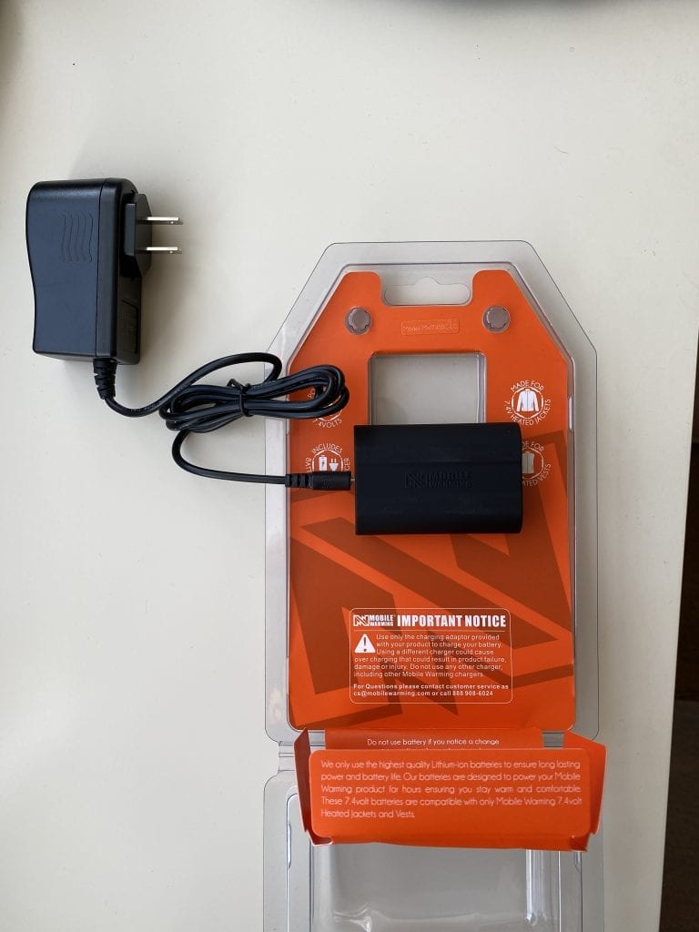 Mobile Warming Phase Hoodie Battery Pack and Charging Plug