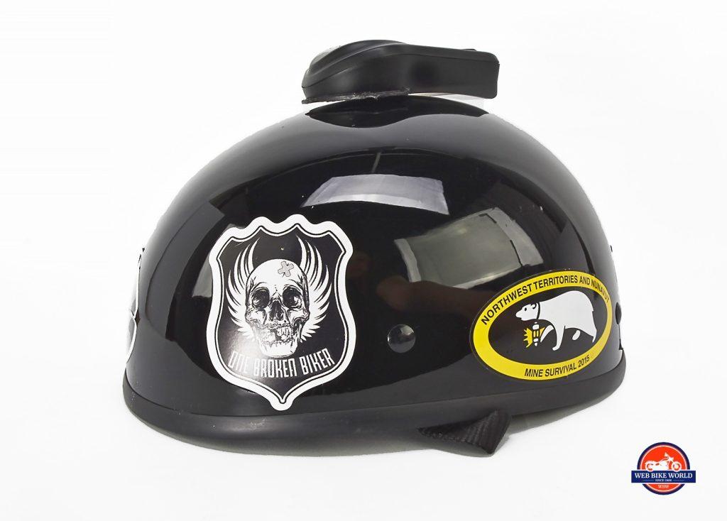 The Domio Moto on an open face, beanie helmet.