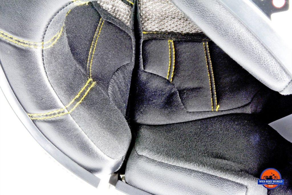 The ear pocket in the Vozz RS 1.0 helmet liner.