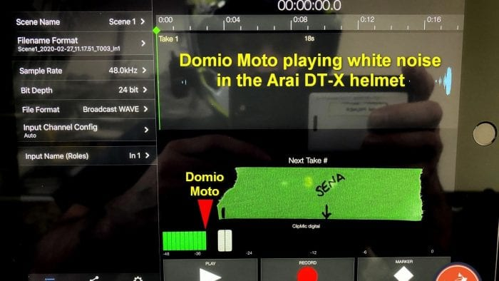 Measuring volume in the Arai DT-X using the Domio Moto and Sena 10C Pro.