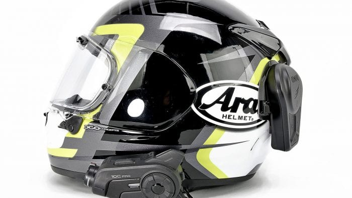 My Arai DT-X with a Sena 10C Pro and Domio Moto mounted on it.