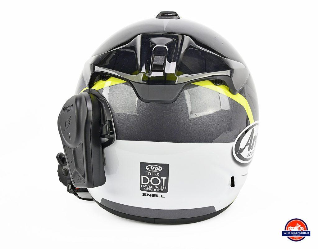 The Domio Moto mounted on an Arai DT-X helmet.