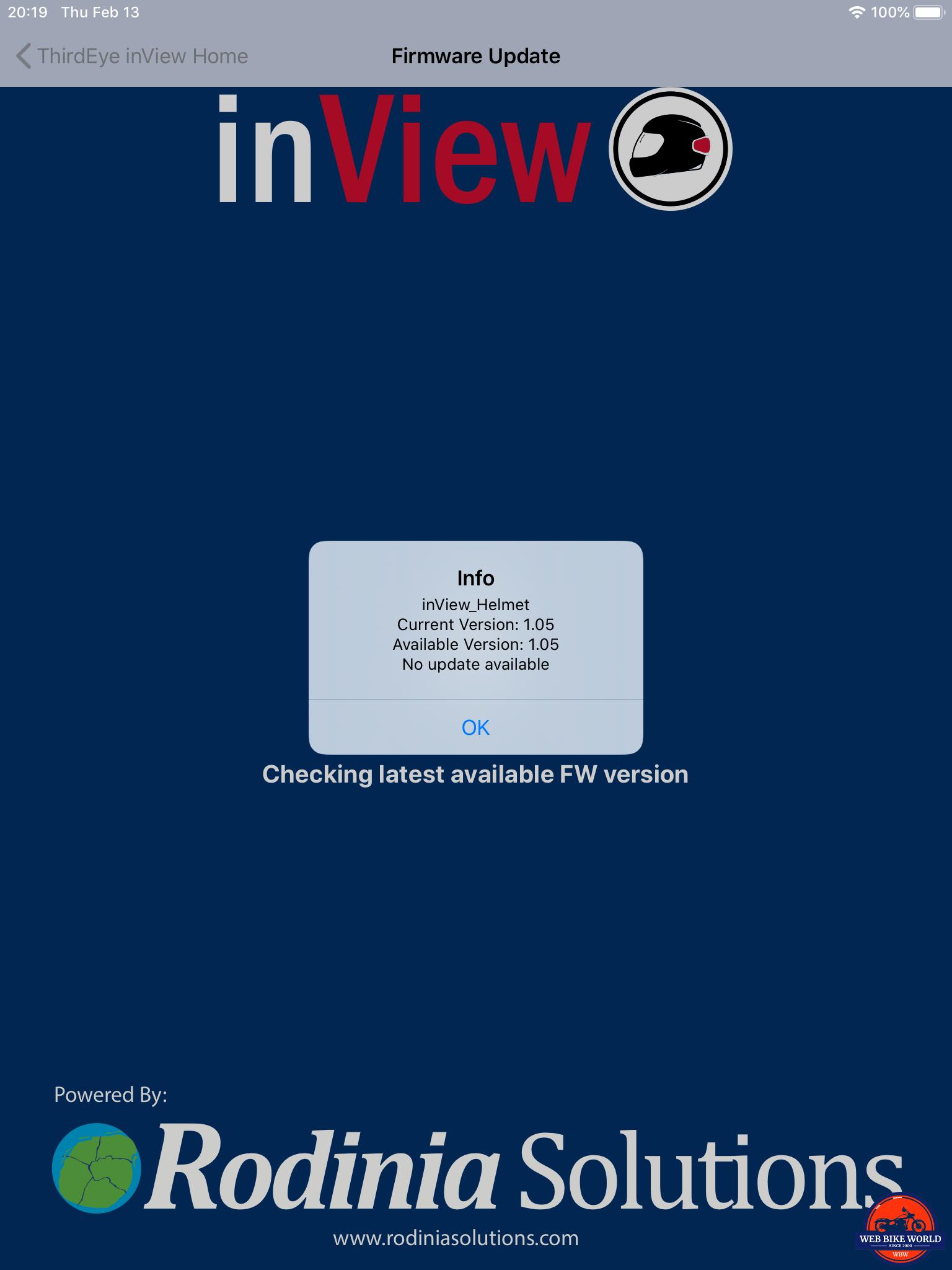 inView, App Screenshot, 4 of 7, firmware update screen