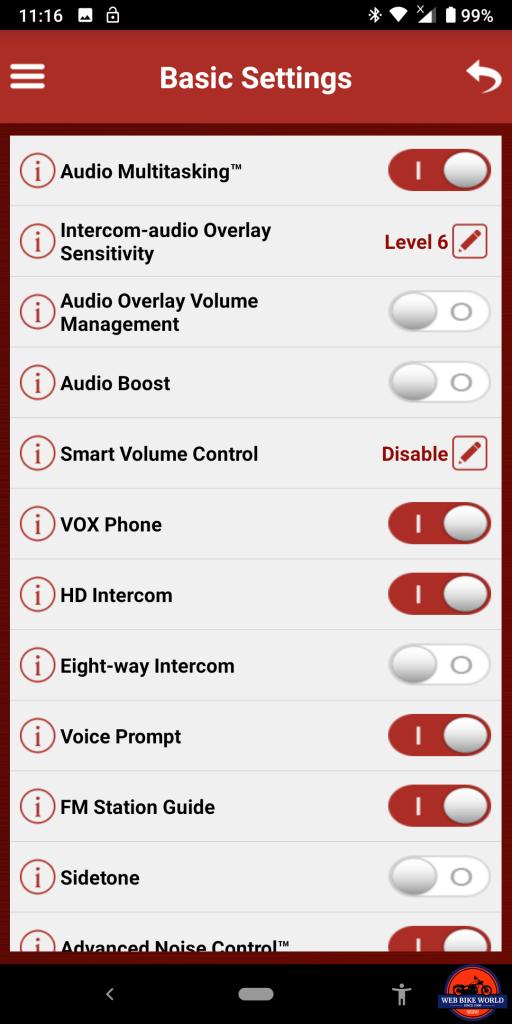 Sena SRL2 BT, Sena Utility App, Basic Settings Screenshots, 3 of 6