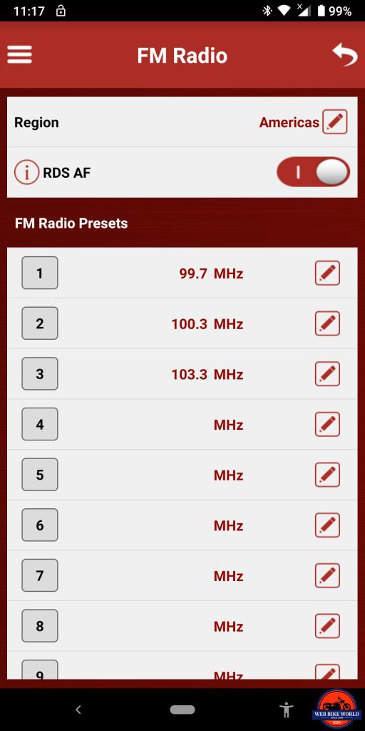Sena SRL2 BT, Sena Utility App, FM Radio, Screenshots, 4 of 6