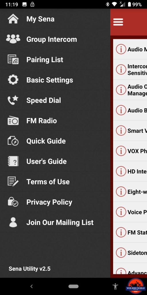 Sena SRL2 BT, Sena Utility App, Options Menu, Screenshots 5 of 6