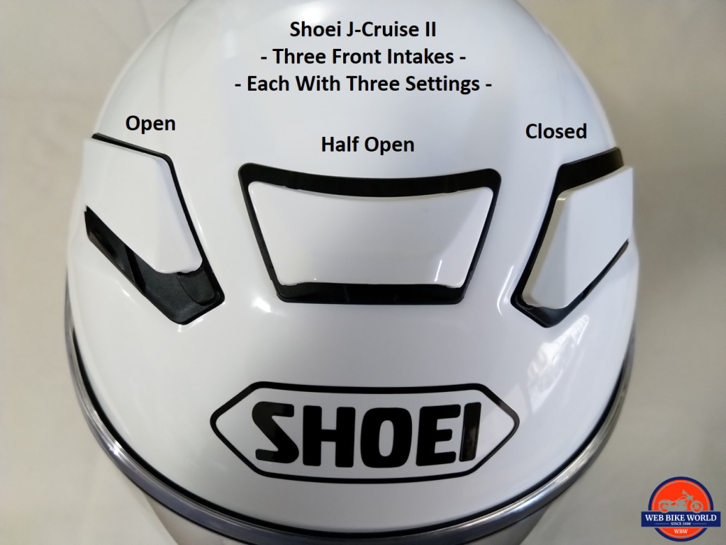 Shoei J-Cruise II, individual front intakes, with three position settings, labelled