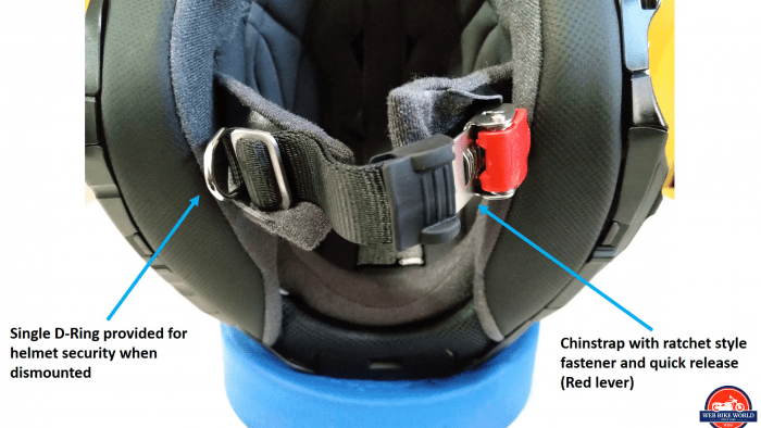 Shoei J-Cruise II, ratchet strap with Red quick release, single D-ring for securing helmet when dismounted, labelled