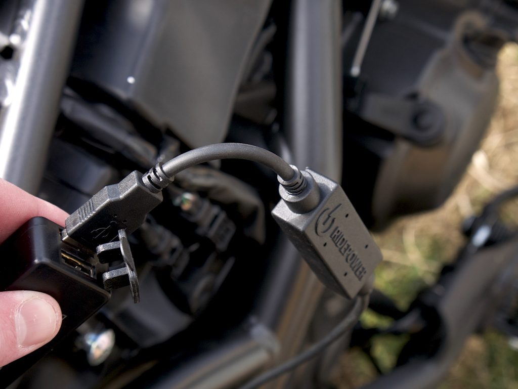 ridepower charger on the bike