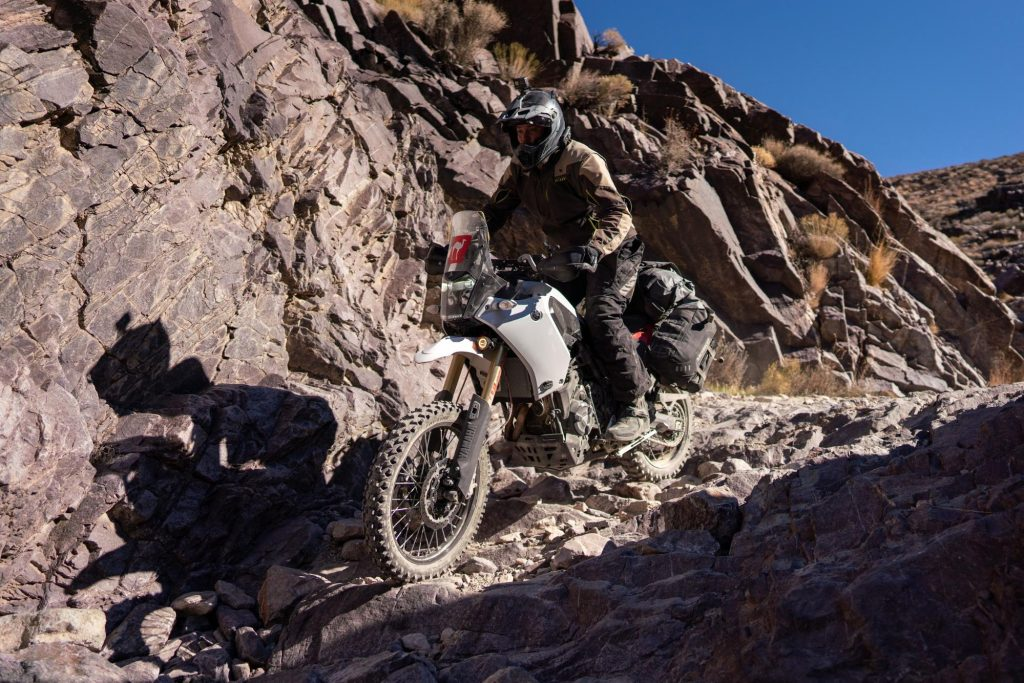 the mosko moto reckless 80L v3.0 Revolver Luggage System on a Yamaha Tenere 700