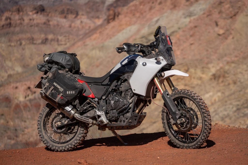 The Mosko Moto Reckless 80 L v3.0 Revolverw Luggage System on a Yamaha Tenere 700