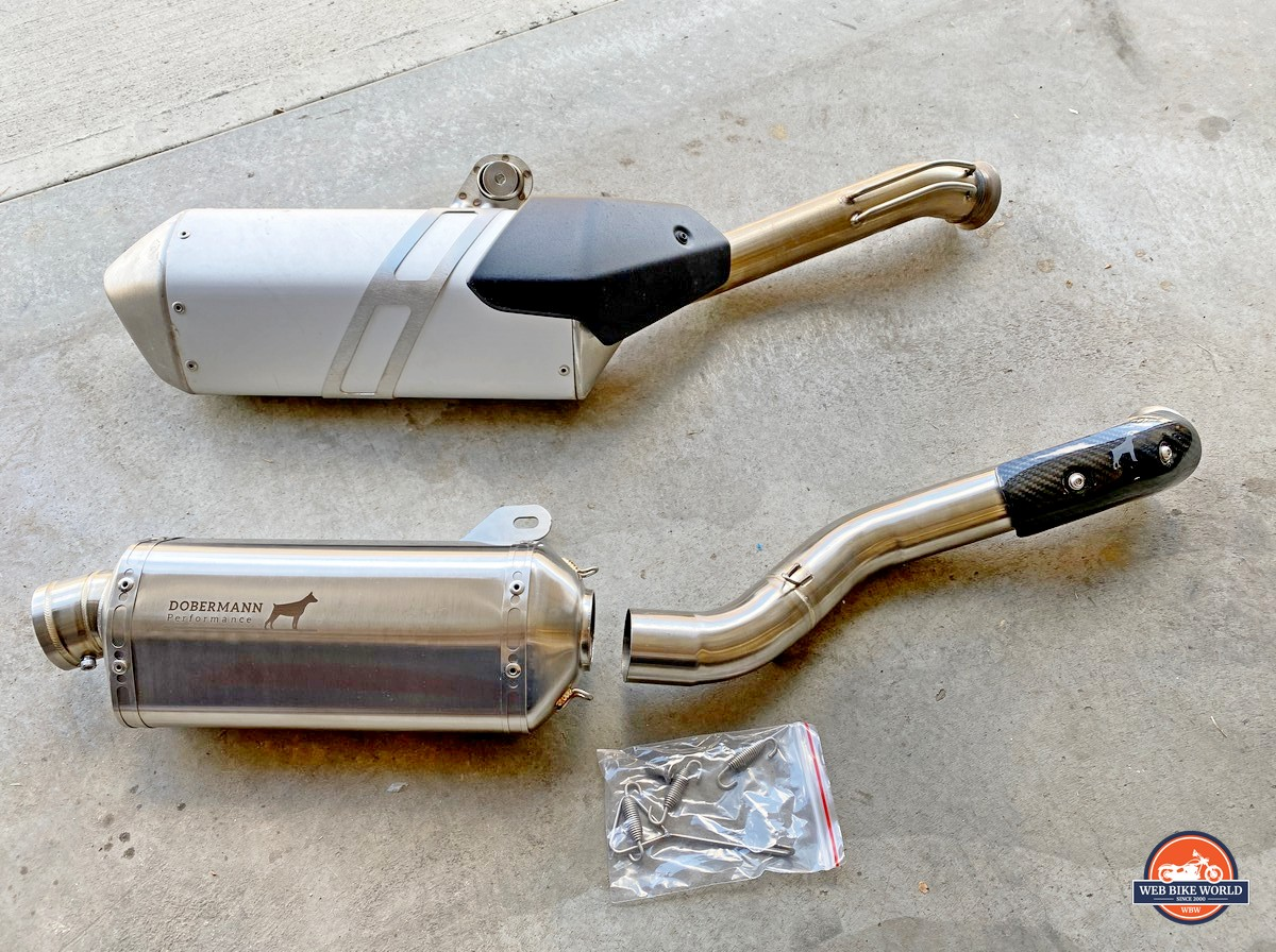 The Dobermann Performance Slip-On Exhaust for the KTM 790 Adventure