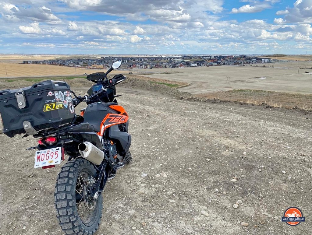 A 2019 KTM 790 Adventure S with a Dobermann Performance exhaust installed on it.