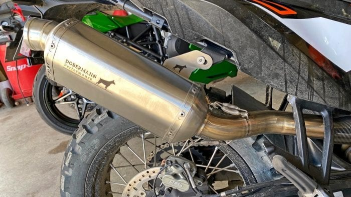 The Dobermann Performance exhaust has changed color to a bronze or brass from the original stainless steel silver.
