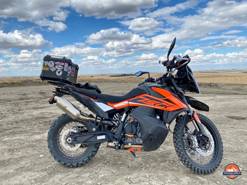 A 2019 KTM 790 Adventure S with the Dobermann Performance exhaust slip on installed.