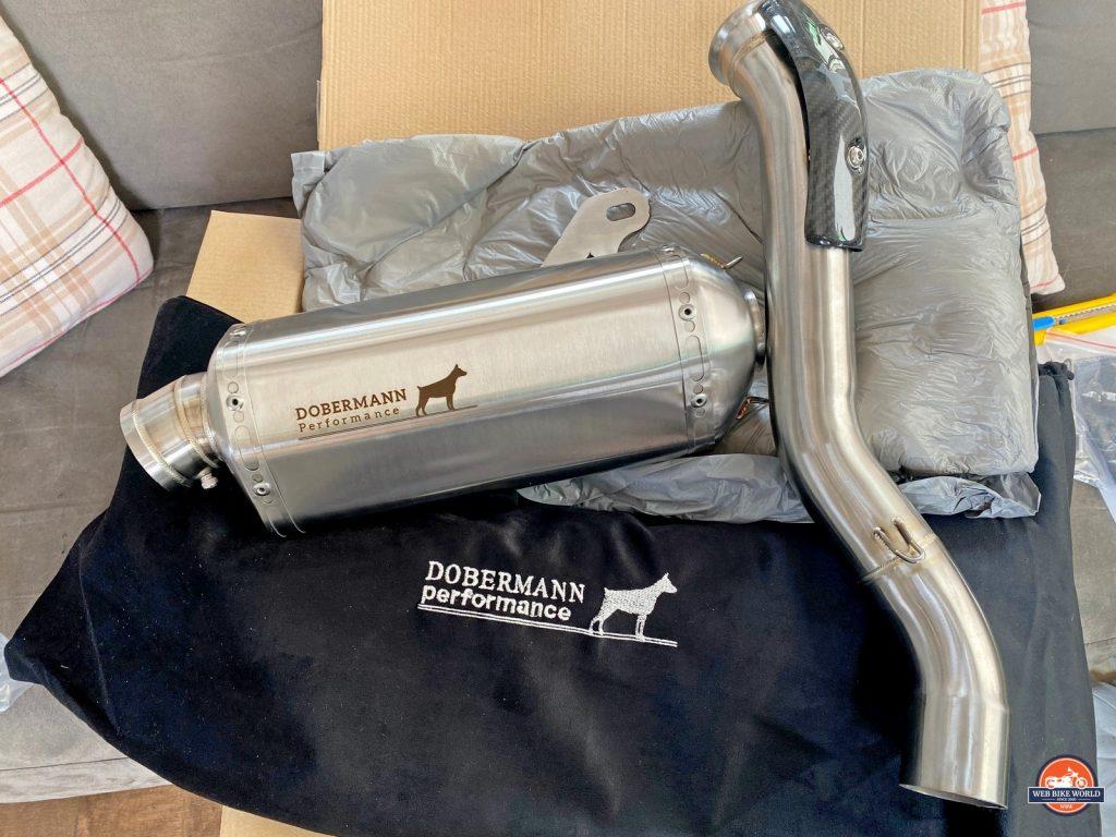 The Dobermann Performance Slip-On Exhaust for the KTM 790 Adventure.