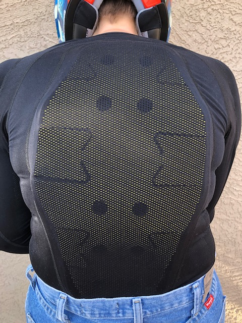 Forcefield Pro Jacket X-V2 rear view showing the back armor, the flexibility and the back ventilation