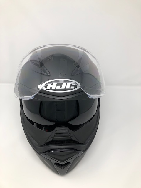 HJC F70 with visor open and sun visor down
