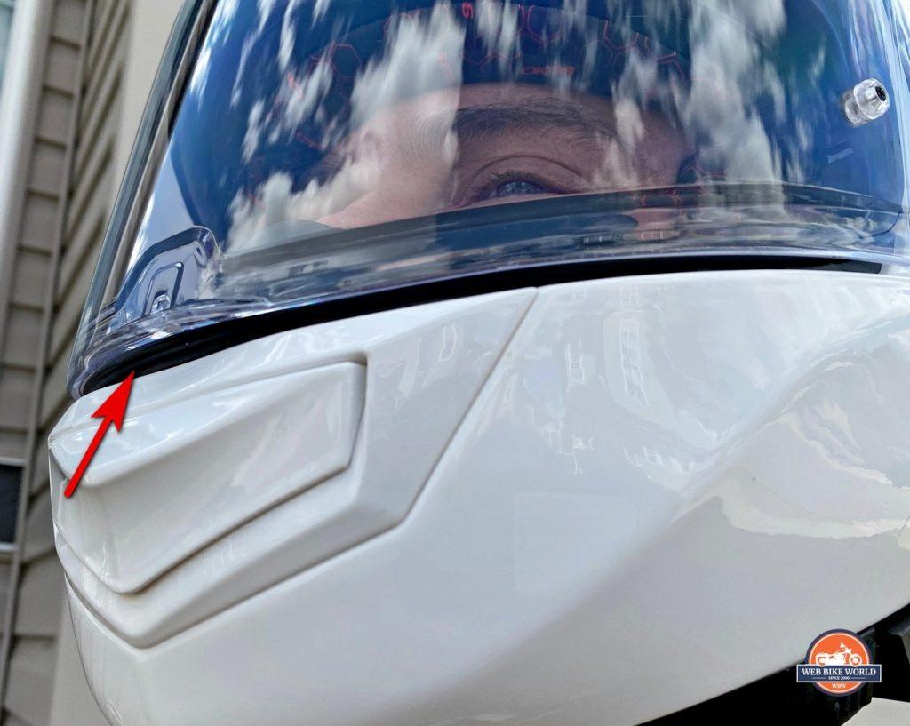 The Sedici Strada II helmet with visor cracked open