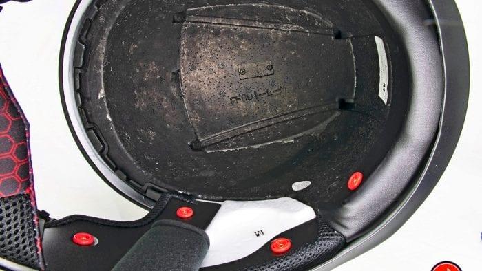 The Sedici Strada II helmet interior EPS foam.