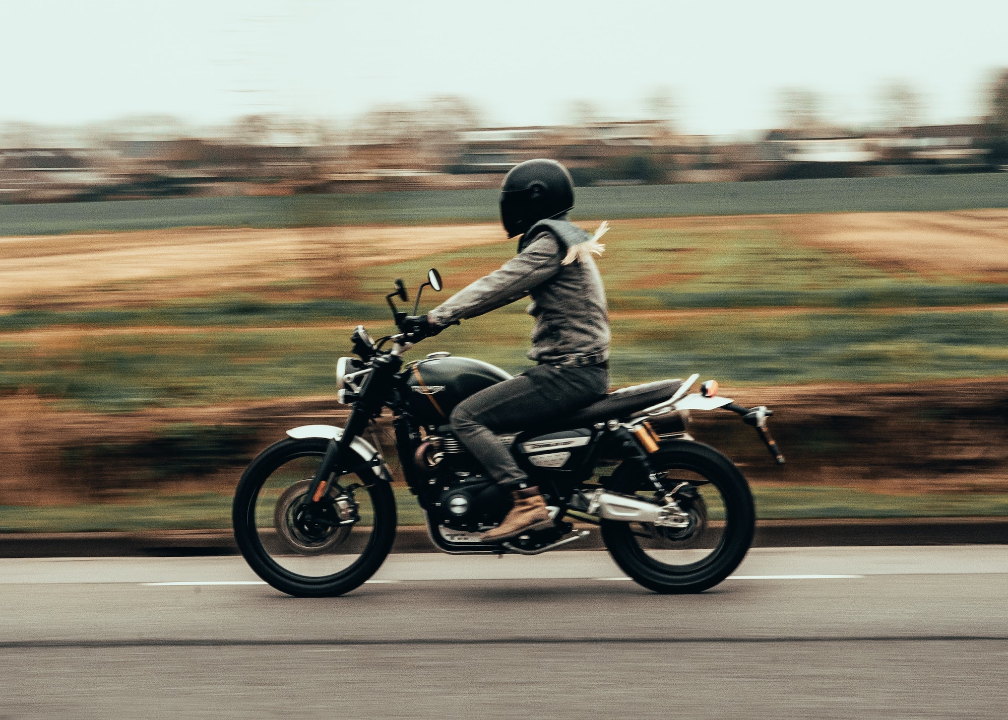 motorcyclist wearing a helmet