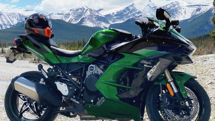 The Klim Krios Pro with my Ninja out in the mountains.