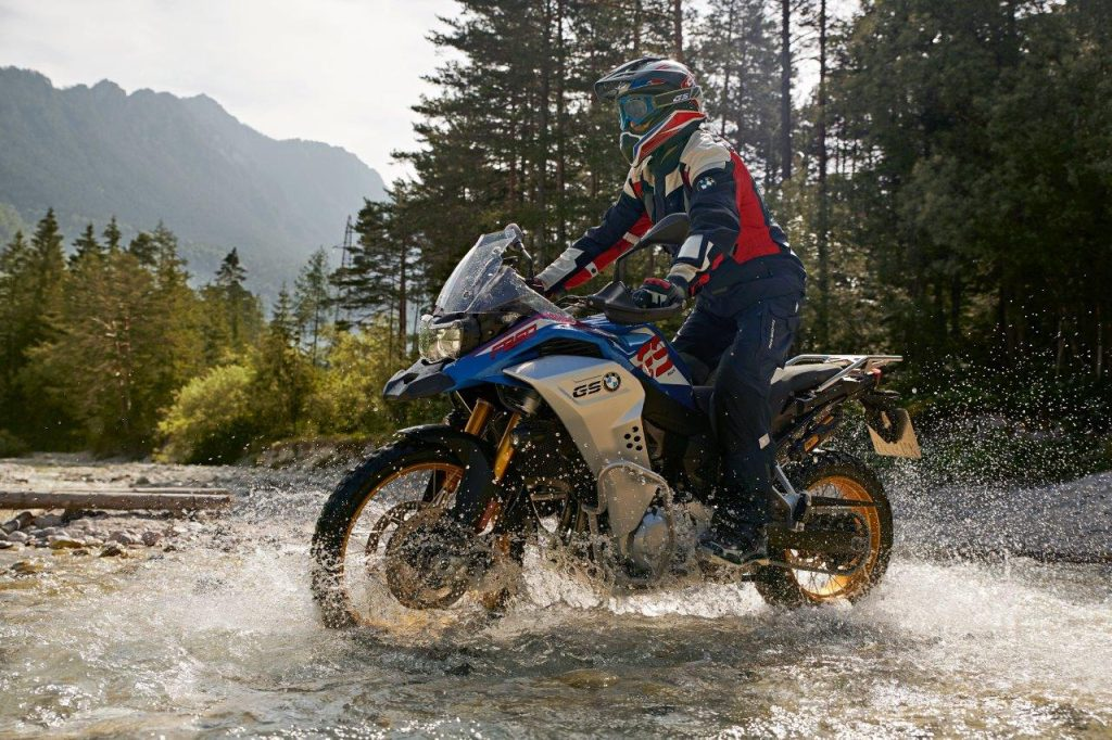 BMW adventure motorcycle through water