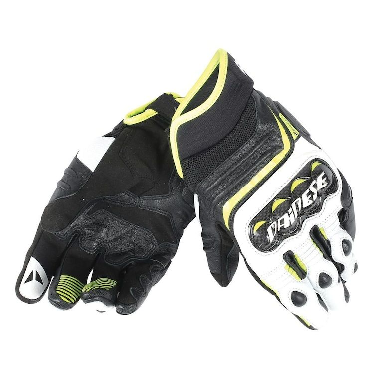 dainese carbon d1 short gloves yellow