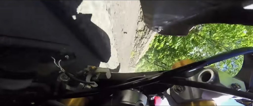 The view from Dominic Herbertson's Senior TT 1200 cc superbike after crashing