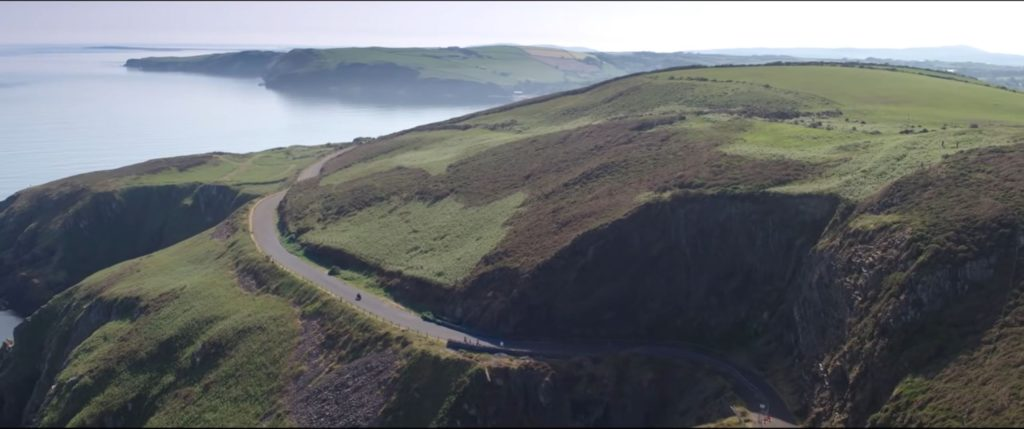Dominic Herbertson riding the coastal road on the Isle of Man